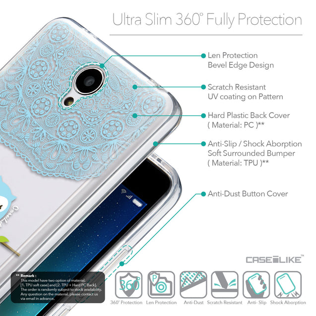 Details in English - CASEiLIKE Xiaomi Redmi Note 2 back cover Owl Graphic Design 3318