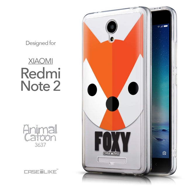 Front & Side View - CASEiLIKE Xiaomi Redmi Note 2 back cover Animal Cartoon 3637