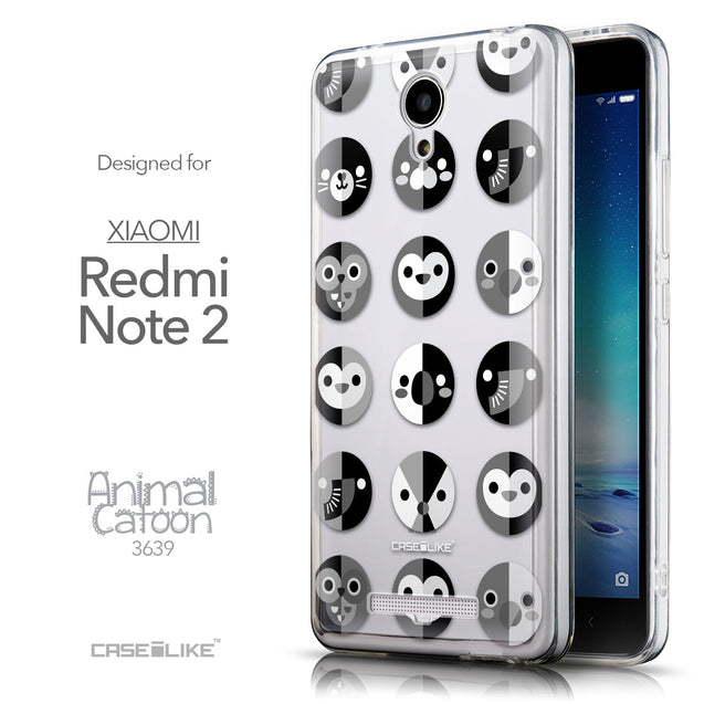 Front & Side View - CASEiLIKE Xiaomi Redmi Note 2 back cover Animal Cartoon 3639