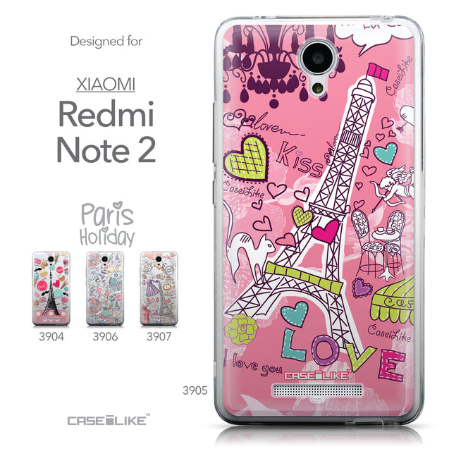 Collection - CASEiLIKE Xiaomi Redmi Note 2 back cover Paris Holiday 3905