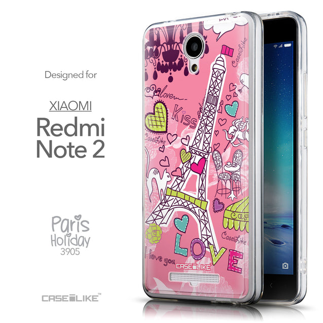 Front & Side View - CASEiLIKE Xiaomi Redmi Note 2 back cover Paris Holiday 3905