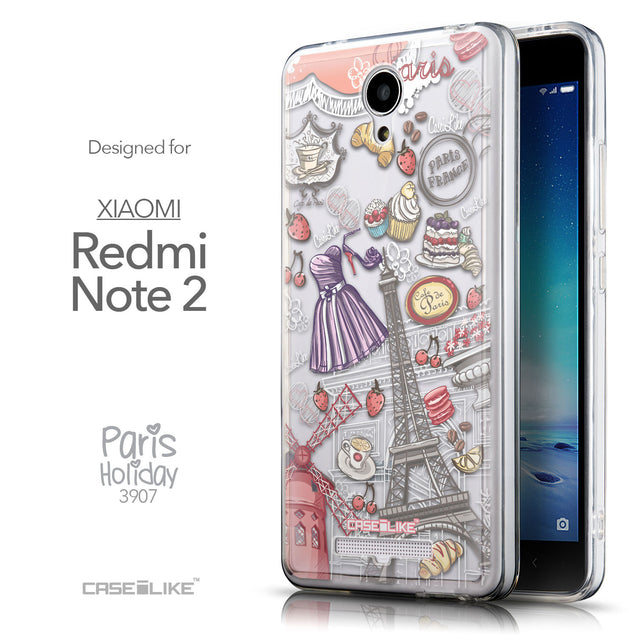 Front & Side View - CASEiLIKE Xiaomi Redmi Note 2 back cover Paris Holiday 3907