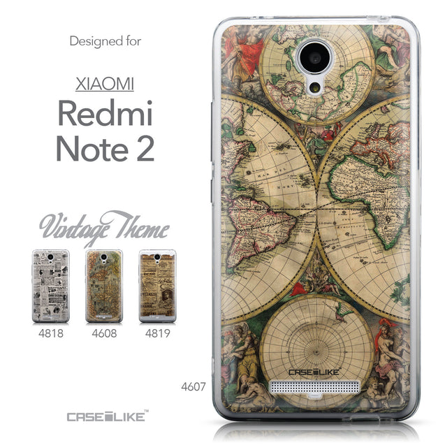 Collection - CASEiLIKE Xiaomi Redmi Note 2 back cover World Map Vintage 4607