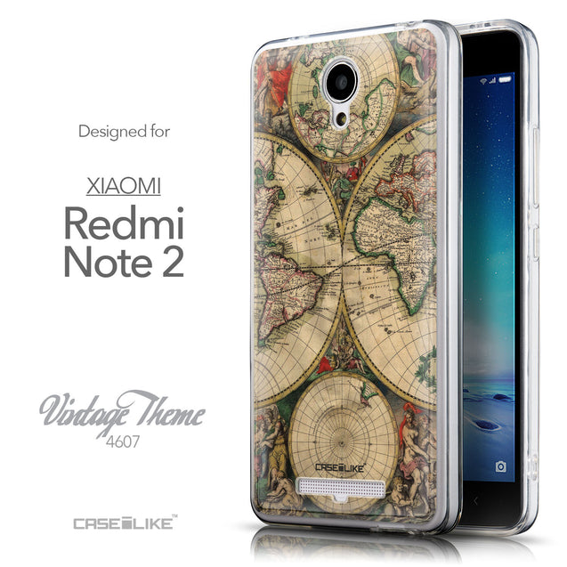 Front & Side View - CASEiLIKE Xiaomi Redmi Note 2 back cover World Map Vintage 4607