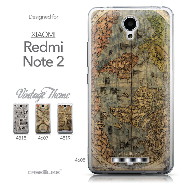 Collection - CASEiLIKE Xiaomi Redmi Note 2 back cover World Map Vintage 4608