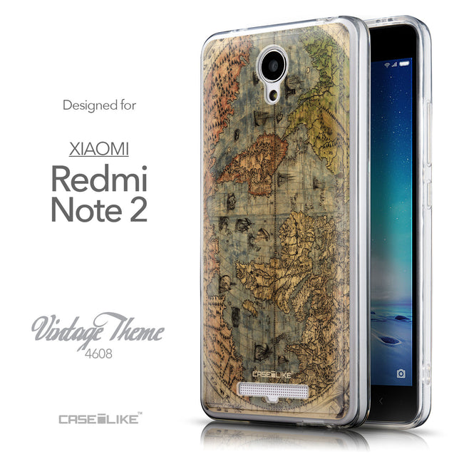 Front & Side View - CASEiLIKE Xiaomi Redmi Note 2 back cover World Map Vintage 4608