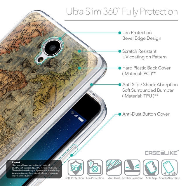Details in English - CASEiLIKE Xiaomi Redmi Note 2 back cover World Map Vintage 4608