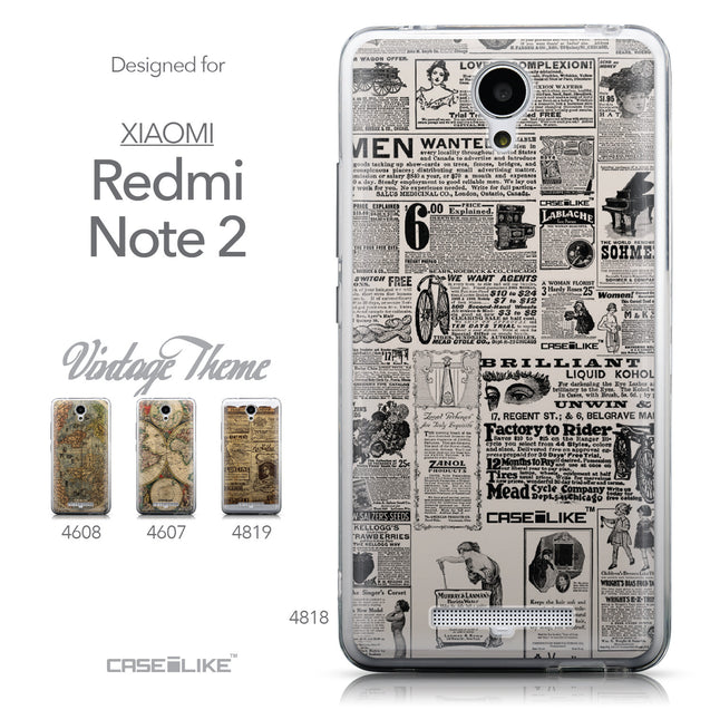 Collection - CASEiLIKE Xiaomi Redmi Note 2 back cover Vintage Newspaper Advertising 4818