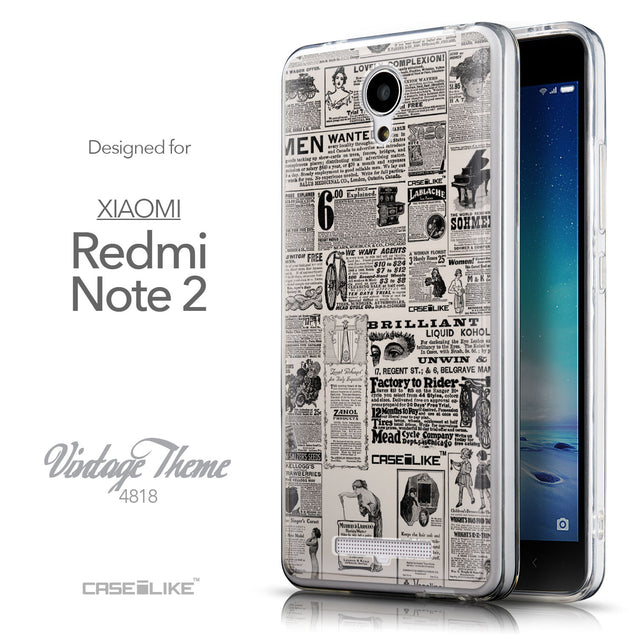 Front & Side View - CASEiLIKE Xiaomi Redmi Note 2 back cover Vintage Newspaper Advertising 4818