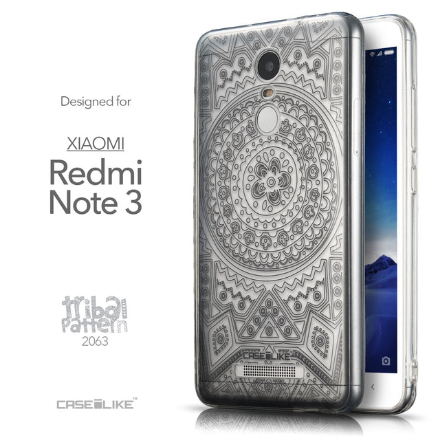 Front & Side View - CASEiLIKE Xiaomi Redmi Note 3 back cover Indian Line Art 2063