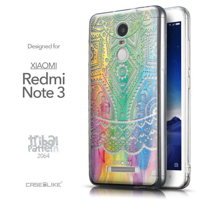 Front & Side View - CASEiLIKE Xiaomi Redmi Note 3 back cover Indian Line Art 2064