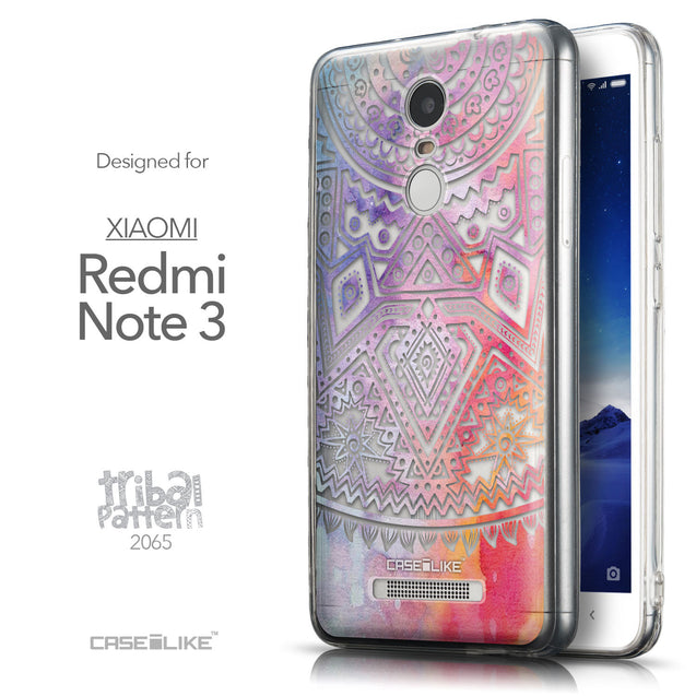 Front & Side View - CASEiLIKE Xiaomi Redmi Note 3 back cover Indian Line Art 2065