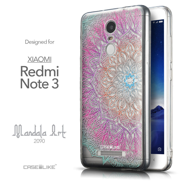 Front & Side View - CASEiLIKE Xiaomi Redmi Note 3 back cover Mandala Art 2090