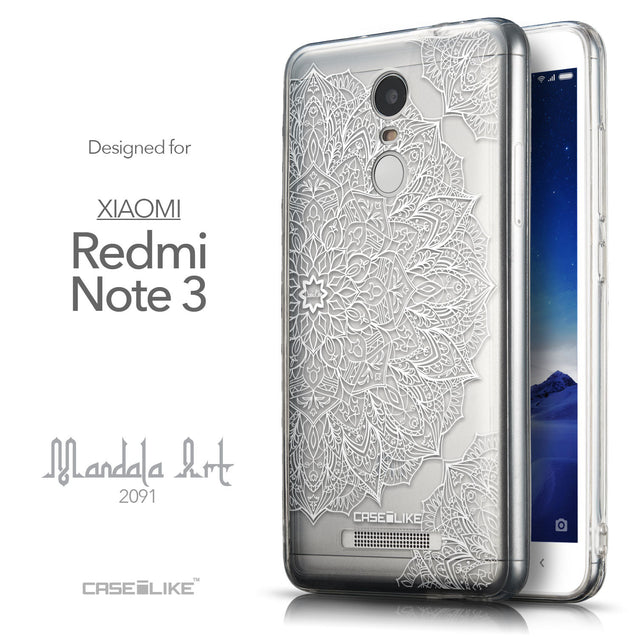 Front & Side View - CASEiLIKE Xiaomi Redmi Note 3 back cover Mandala Art 2091