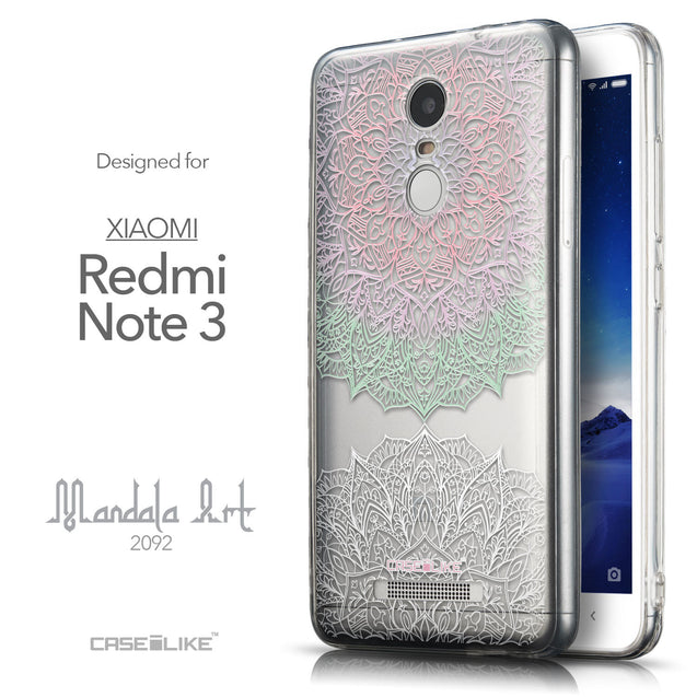 Front & Side View - CASEiLIKE Xiaomi Redmi Note 3 back cover Mandala Art 2092