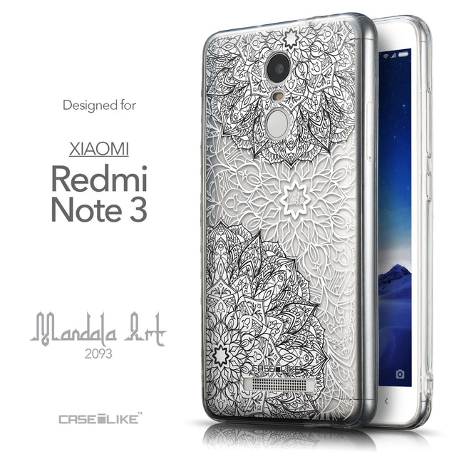Front & Side View - CASEiLIKE Xiaomi Redmi Note 3 back cover Mandala Art 2093