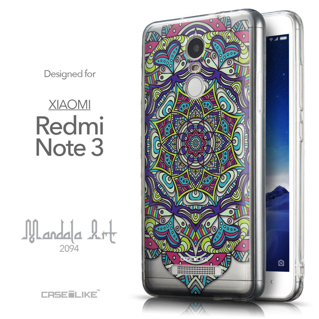 Front & Side View - CASEiLIKE Xiaomi Redmi Note 3 back cover Mandala Art 2094