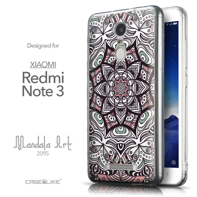Front & Side View - CASEiLIKE Xiaomi Redmi Note 3 back cover Mandala Art 2095