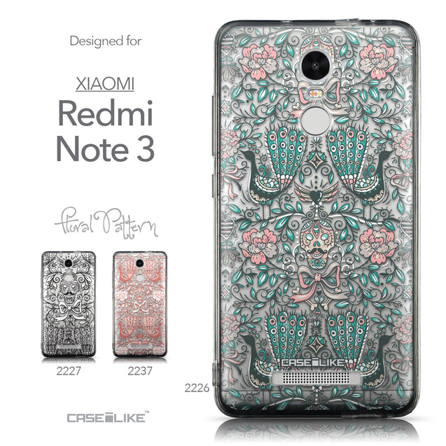 Collection - CASEiLIKE Xiaomi Redmi Note 3 back cover Roses Ornamental Skulls Peacocks 2226