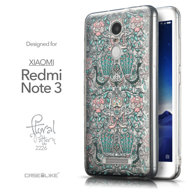 Front & Side View - CASEiLIKE Xiaomi Redmi Note 3 back cover Roses Ornamental Skulls Peacocks 2226