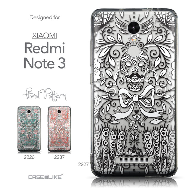 Collection - CASEiLIKE Xiaomi Redmi Note 3 back cover Roses Ornamental Skulls Peacocks 2227