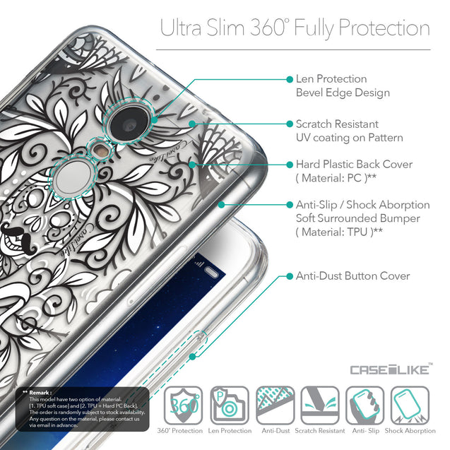 Details in English - CASEiLIKE Xiaomi Redmi Note 3 back cover Roses Ornamental Skulls Peacocks 2227