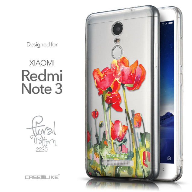 Front & Side View - CASEiLIKE Xiaomi Redmi Note 3 back cover Watercolor Floral 2230