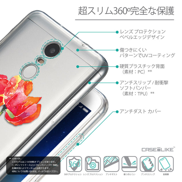 Details in Japanese - CASEiLIKE Xiaomi Redmi Note 3 back cover Watercolor Floral 2230