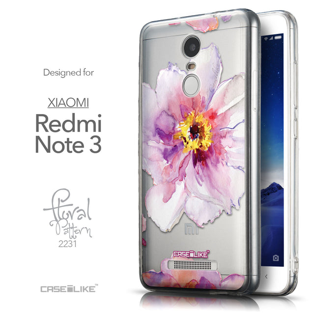 Front & Side View - CASEiLIKE Xiaomi Redmi Note 3 back cover Watercolor Floral 2231