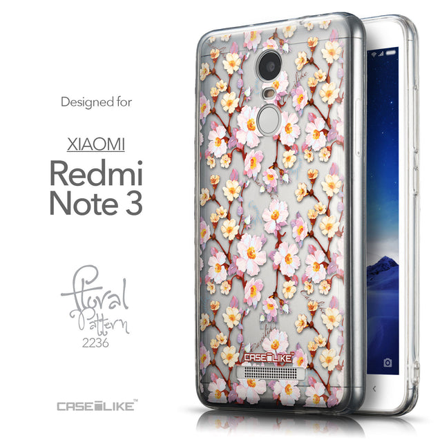 Front & Side View - CASEiLIKE Xiaomi Redmi Note 3 back cover Watercolor Floral 2236