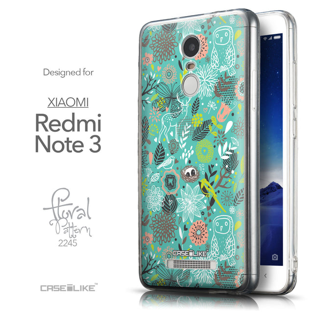 Front & Side View - CASEiLIKE Xiaomi Redmi Note 3 back cover Spring Forest Turquoise 2245