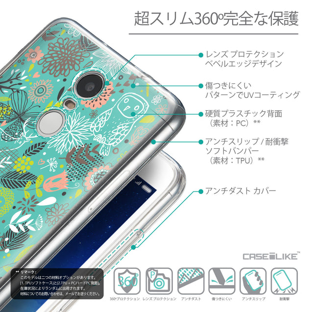 Details in Japanese - CASEiLIKE Xiaomi Redmi Note 3 back cover Spring Forest Turquoise 2245