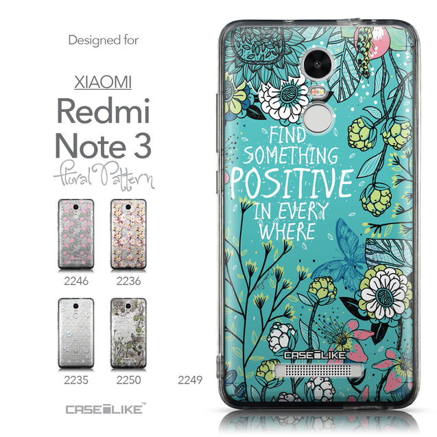 Collection - CASEiLIKE Xiaomi Redmi Note 3 back cover Blooming Flowers Turquoise 2249