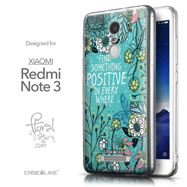 Front & Side View - CASEiLIKE Xiaomi Redmi Note 3 back cover Blooming Flowers Turquoise 2249
