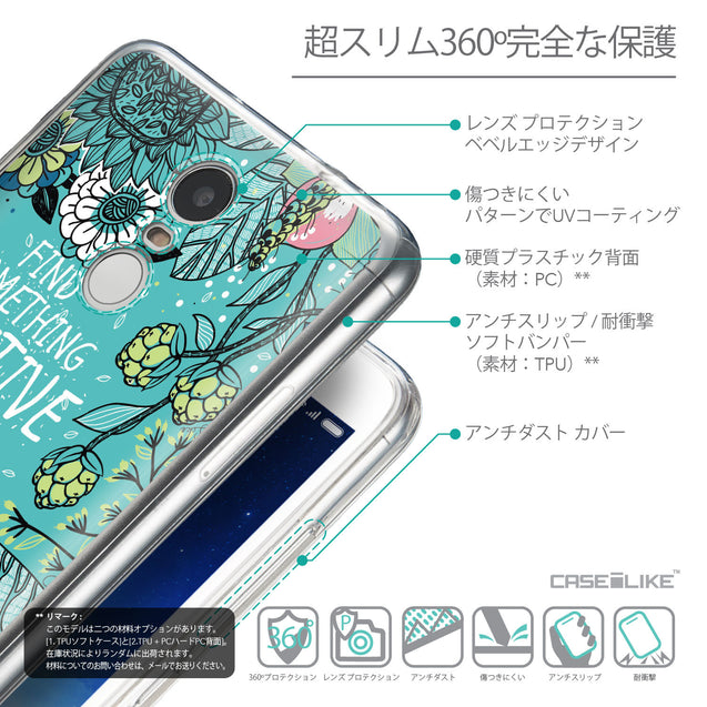 Details in Japanese - CASEiLIKE Xiaomi Redmi Note 3 back cover Blooming Flowers Turquoise 2249