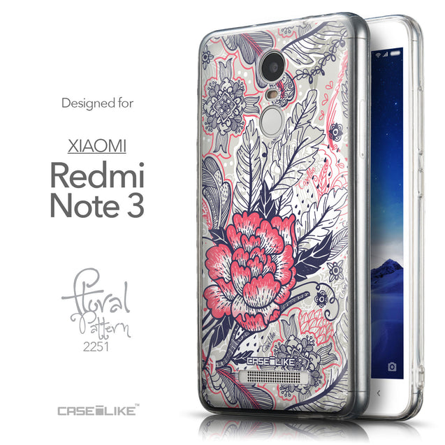 Front & Side View - CASEiLIKE Xiaomi Redmi Note 3 back cover Vintage Roses and Feathers Beige 2251