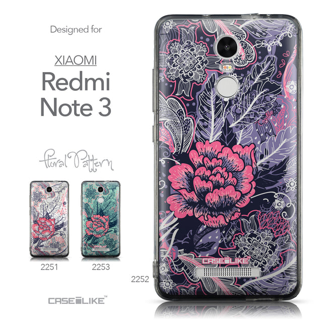 Collection - CASEiLIKE Xiaomi Redmi Note 3 back cover Vintage Roses and Feathers Blue 2252