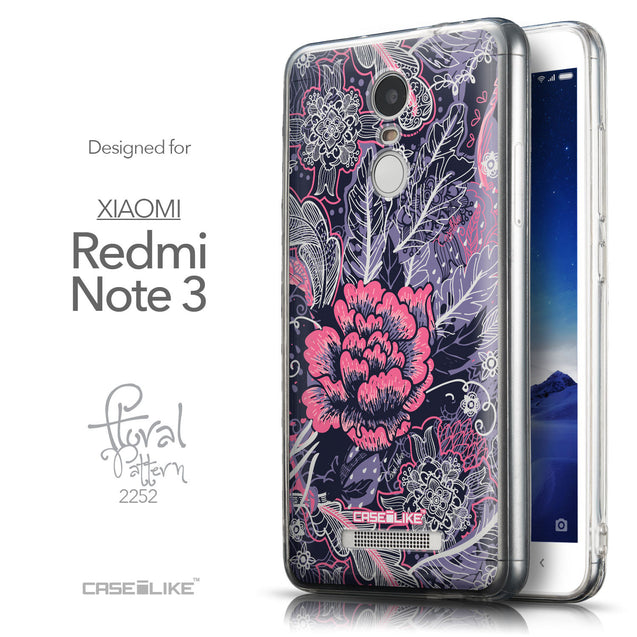 Front & Side View - CASEiLIKE Xiaomi Redmi Note 3 back cover Vintage Roses and Feathers Blue 2252