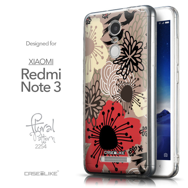 Front & Side View - CASEiLIKE Xiaomi Redmi Note 3 back cover Japanese Floral 2254