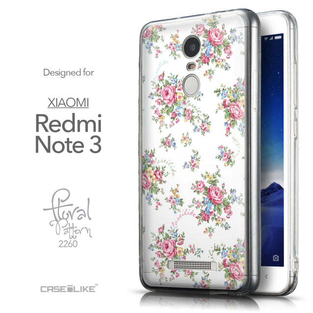 Front & Side View - CASEiLIKE Xiaomi Redmi Note 3 back cover Floral Rose Classic 2260