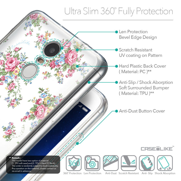 Details in English - CASEiLIKE Xiaomi Redmi Note 3 back cover Floral Rose Classic 2260