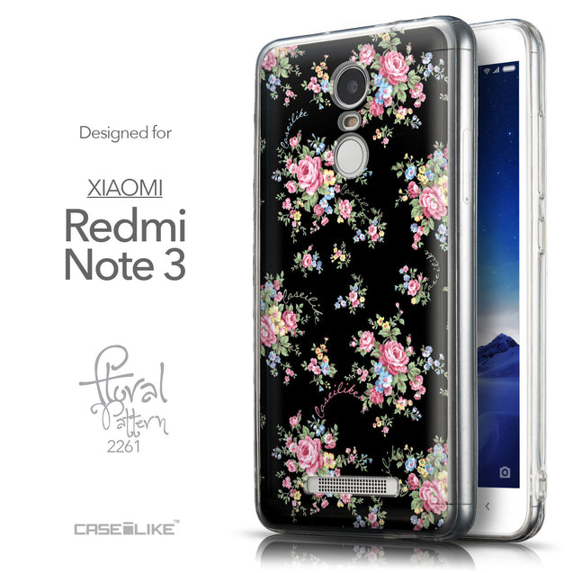Front & Side View - CASEiLIKE Xiaomi Redmi Note 3 back cover Floral Rose Classic 2261