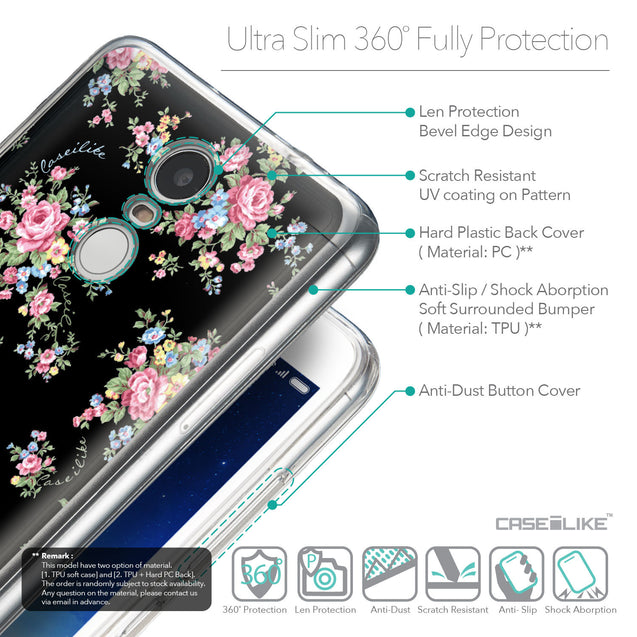 Details in English - CASEiLIKE Xiaomi Redmi Note 3 back cover Floral Rose Classic 2261