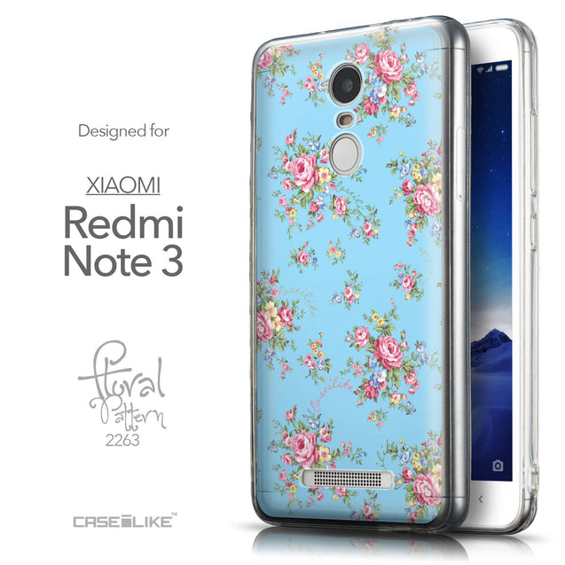 Front & Side View - CASEiLIKE Xiaomi Redmi Note 3 back cover Floral Rose Classic 2263