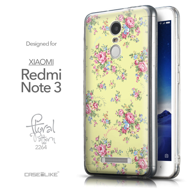 Front & Side View - CASEiLIKE Xiaomi Redmi Note 3 back cover Floral Rose Classic 2264
