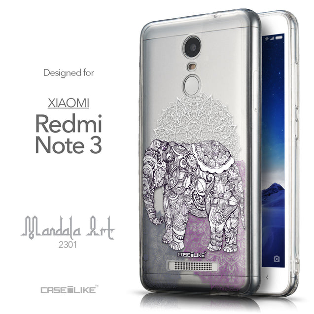 Front & Side View - CASEiLIKE Xiaomi Redmi Note 3 back cover Mandala Art 2301