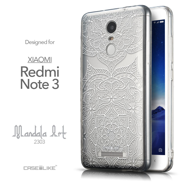Front & Side View - CASEiLIKE Xiaomi Redmi Note 3 back cover Mandala Art 2303