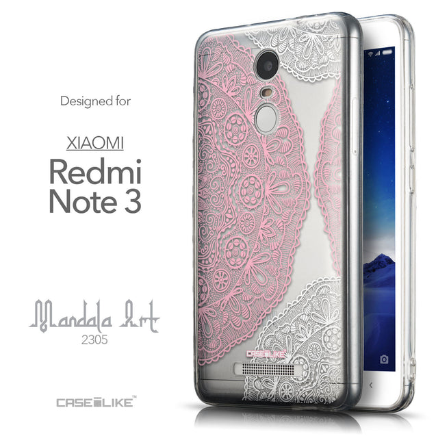 Front & Side View - CASEiLIKE Xiaomi Redmi Note 3 back cover Mandala Art 2305