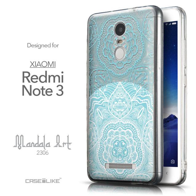 Front & Side View - CASEiLIKE Xiaomi Redmi Note 3 back cover Mandala Art 2306