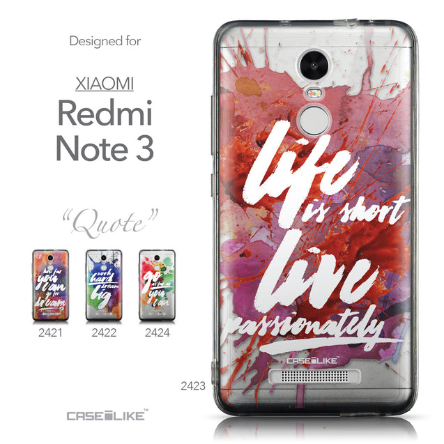 Collection - CASEiLIKE Xiaomi Redmi Note 3 back cover Quote 2423